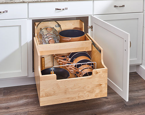base cabinet cookware organizer solutions