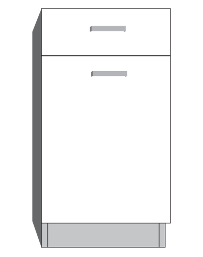 diagram of a door with drawer cabinet