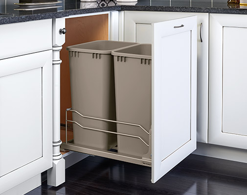 image of a solution that mounts to the cabinet door and floor