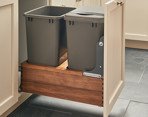 Walnut finish waste container solutions