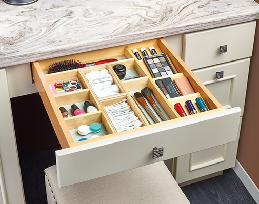 bathroom and vanity cabinet drawer insert solutions