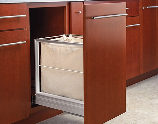 bathroom and vanity cabinet hamper solutions