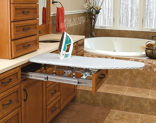 bathroom and vanity cabinet ironing board solutions
