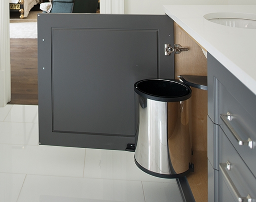 bathroom and vanity cabinet waste container solutions