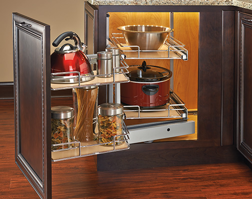 images of solutions that mount to the cabinet floor, side wall and door