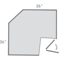 diagram of angeled corner cabinet