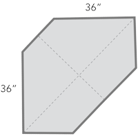 diagram of diagonal corner cabinets